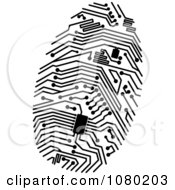 Clipart Black Circuit Finger Print Royalty Free Vector Illustration