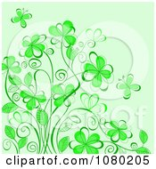 Clipart Green Floral Background With Butterflies Royalty Free Vector Illustration