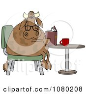 Cow With Reading Glasses Sitting At A Table With Coffee And A Book