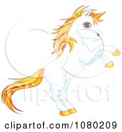 Magical Rearing White Unicorn With Sparkly Orange Hair