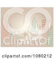 Clipart City Skyline Over Tan Royalty Free Vector Illustration