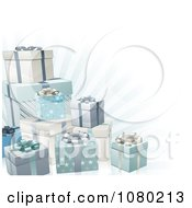 Clipart 3d Blue Silver And White Gift Boxes And Rays Royalty Free Vector Illustration
