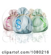 Clipart Lira Dollar And Yen Money Bags And A Reflection Royalty Free Vector Illustration by AtStockIllustration