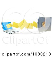 Clipart 3d Files Transferring To A Laptop To A Secure Safe Royalty Free Vector Illustration by AtStockIllustration