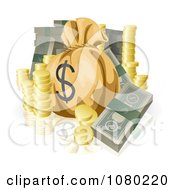 Clipart Bundled Cash Stacked Coins And A Money Sack Royalty Free Vector Illustration by AtStockIllustration