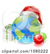 3d Globe With A Santa Hat Baubles And Christmas Gift Box