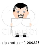 Clipart Black Haired Businsesman Holding A Blank Sign 2 Royalty Free Vector Illustration