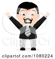 Clipart Black Haired Businsesman Holding His Arms Up Royalty Free Vector Illustration