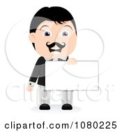 Clipart Black Haired Businessman Holding A Blank Sign 1 Royalty Free Vector Illustration