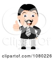 Clipart Black Haired Businsesman Holding A Thumb Up And Out Royalty Free Vector Illustration