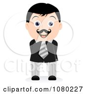 Clipart Black Haired Businsesman With His Hands Behind His Back Royalty Free Vector Illustration
