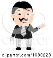 Clipart Black Haired Businsesman Presenting Royalty Free Vector Illustration