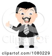 Clipart Black Haired Businsesman Holding A Thumb Up Royalty Free Vector Illustration