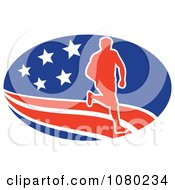 Clipart Male Marathon Runner Over An American Oval Royalty Free Vector Illustration