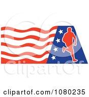 Clipart Male Marathon Runner Over An American Flag Royalty Free Vector Illustration