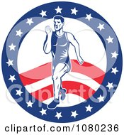 Clipart Male Marathon Runner Over An American Circle Royalty Free Vector Illustration
