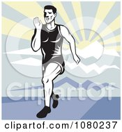 Clipart Male Runner Sprinting Against A Mountainous Landscape Royalty Free Vector Illustration