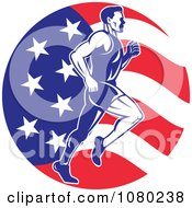 Clipart Male Marathon Runner Over An American Flag Circle Royalty Free Vector Illustration
