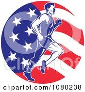 Male Marathon Runner Over An American Flag Circle