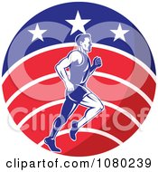 Clipart Male Marathon Runner Over A USA Circle Royalty Free Vector Illustration