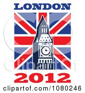 Clipart London 2012 New Year Big Ben And UK Flag Royalty Free Vector Illustration by patrimonio