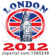 Clipart London 2012 New Year Big Ben And UK Circle Flag Royalty Free Vector Illustration by patrimonio