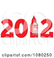 Clipart Red 2012 With Big Ben Royalty Free Vector Illustration by patrimonio