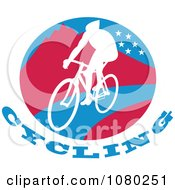 Clipart Cyclist On A Mountainous Circle Royalty Free Vector Illustration