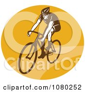 Clipart Cyclist On A Yellow Circle Royalty Free Vector Illustration