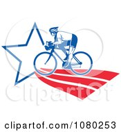 Clipart Cyclist On An American Star Path Royalty Free Vector Illustration