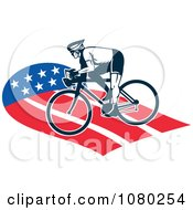 Clipart Cyclist On An American Path Royalty Free Vector Illustration