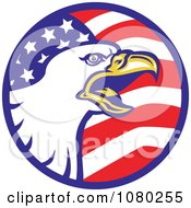 Clipart Bald Eagle And American Flag Circle Royalty Free Vector Illustration