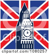 Clipart The Big Ben Clock Tower Against The Union Jack Flag Royalty Free Vector Illustration by patrimonio