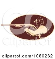 Clipart Tan And Brown Retro Hunter Aiming His Rifle Royalty Free Vector Illustration