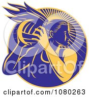 Clipart Yellow And Blue Female Netball Player Over Rays Royalty Free Vector Illustration by patrimonio