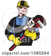 Clipart Retro Plumber Holding A Large Monkey Wrench Royalty Free Vector Illustration