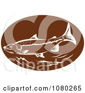 Clipart Retro Brown And White Trout Royalty Free Vector Illustration
