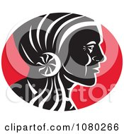 Clipart Black Red And White Native American Chief Royalty Free Vector Illustration by patrimonio