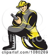 Retro Fireman Kneeling And Holding A Hose