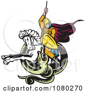 Clipart Retro Knight On Horseback Spearing A Snake Royalty Free Vector Illustration