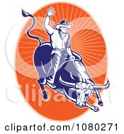 Clipart Blue And Orange Rodeo Cowboy And Bull Oval Royalty Free Vector Illustration