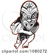 Clipart Ruby Player Wearing A Maori Mask Royalty Free Vector Illustration by patrimonio