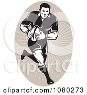 Clipart Black And White Football Player Over Tan Rays Royalty Free Vector Illustration