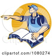 Clipart Retro Worker Pointing And Resting A Hand On A Book Over Orange Rays Royalty Free Vector Illustration by patrimonio