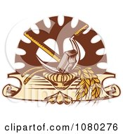 Retro Hammer Sickle Gear Cog And Wheat Logo