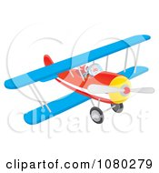 Santa Flying A Blue And Red Biplane