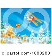 Clipart Santa Flying A Biplane Over A Winter Property Royalty Free Illustration