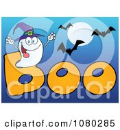 Clipart Ghost Wearing A Witch Hat In The Word BOO With Bats On Blue Royalty Free Vector Illustration