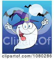 Clipart Spooky Ghost Wearing A Witch Hat Over Bats On Blue Royalty Free Vector Illustration