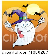 Clipart Spooky Ghost Wearing A Witch Hat Over Bats On Orange Royalty Free Vector Illustration